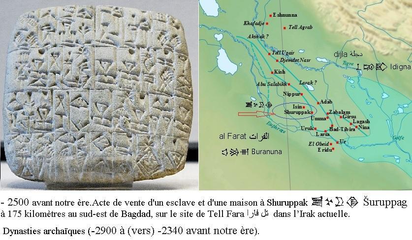 Acte de vente d un esclave et d une maison a shuruppak epoque sumerienne