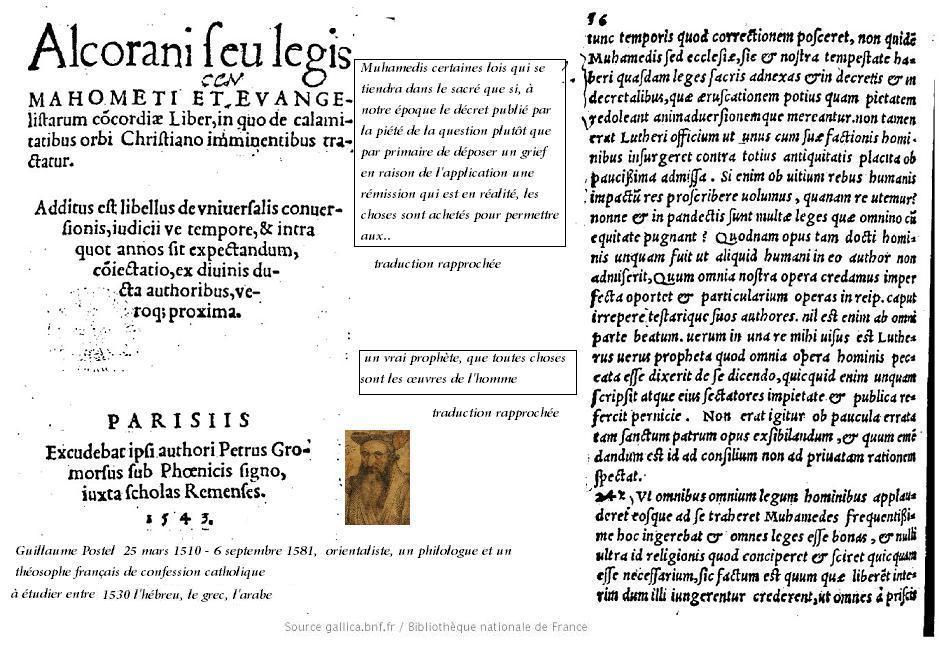 Alcorani seu legis mahometi et evangelistarum concordiae liber guillaume postel