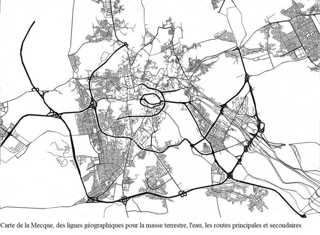 Carte de la mecque lignes geographiques pour la masse terrestre l eau les routes principales et secondaires