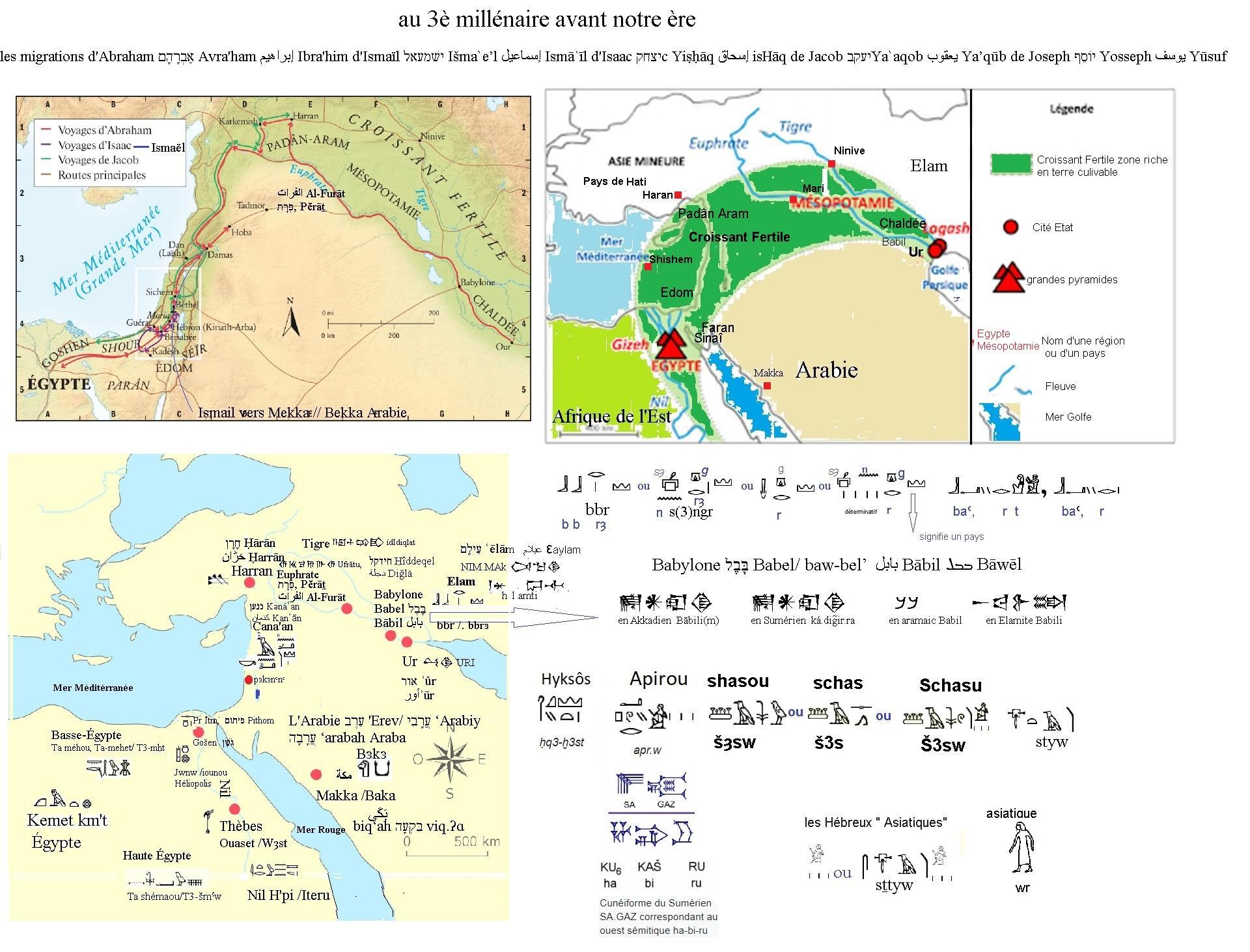 Carte epoque des prophetes abraham isaac ismail jacob joseph