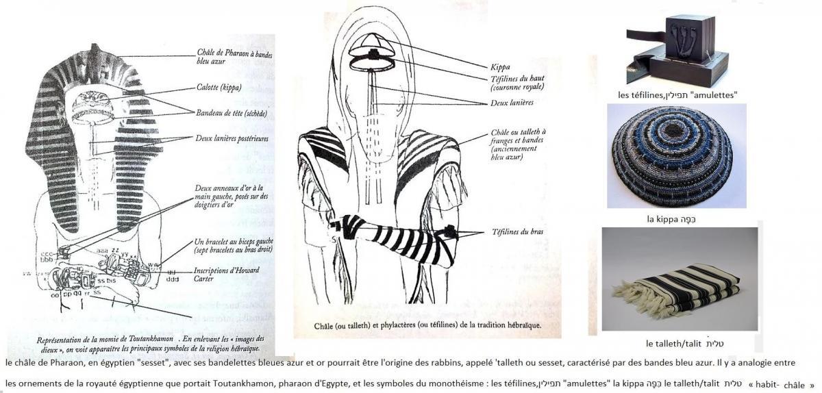 Comparaison ornement royaux pharaon egyptien et religieux israelite