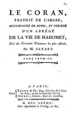 Coran savary 1783