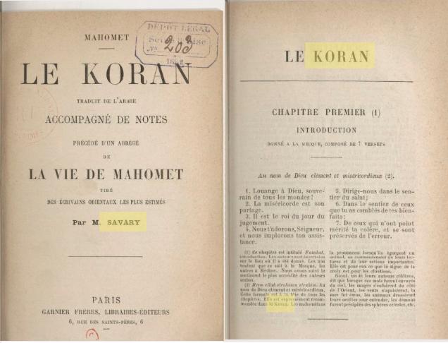 Coran savary koran 1892