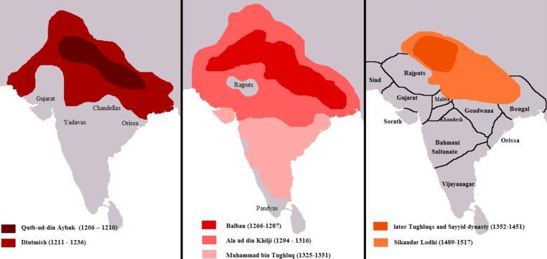Evolution du territoire controle par les sultans de delhi