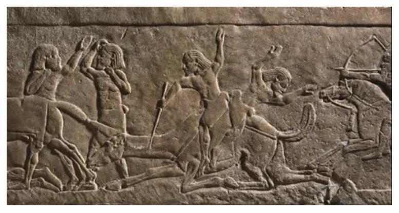 Guerre contre les arabes montes sur des dromadaires relief du palais d assurbanipal a ninive