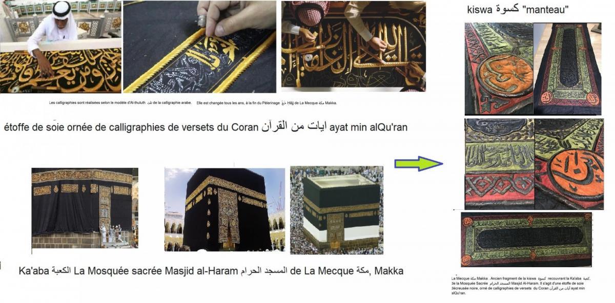 Kiswa ornee de calligraphies de versets du coran