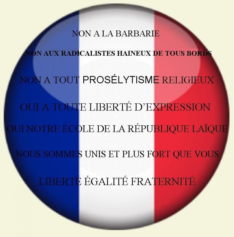 Les francais unis contre toutes violences haineuses barbares