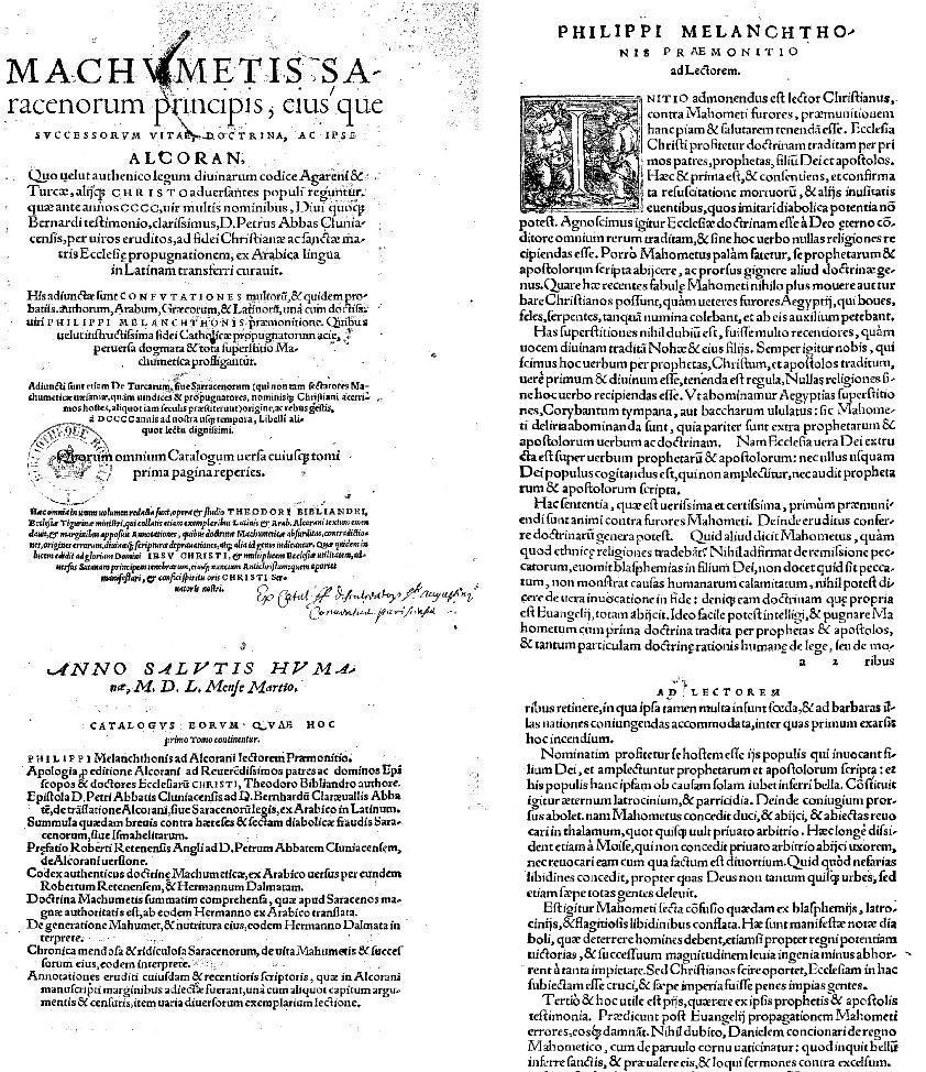 Machumetis saracenorum principis ejus que successorum vitae doctrina ac ipse alcoran