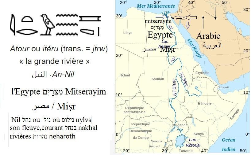Nil hieroglyphe hebreu arabe