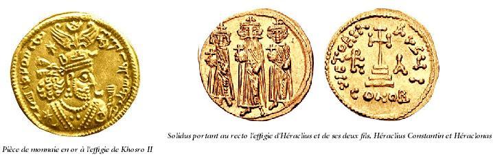 Piece de monnaie en or a l effigie de khosro ii