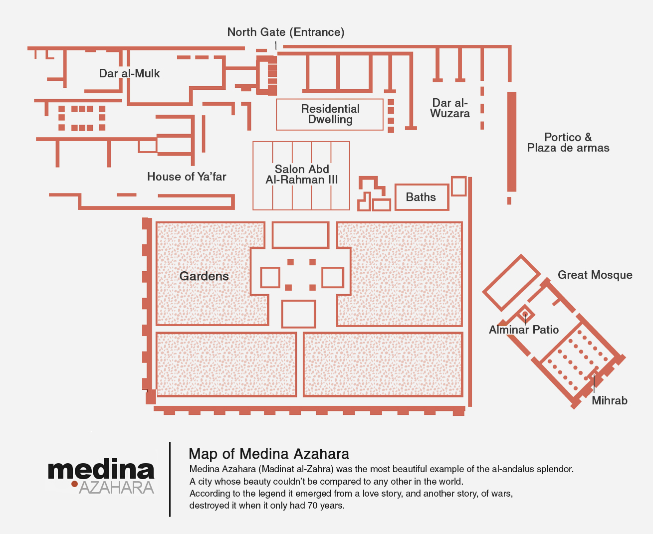 Plan medina azahara of cordoue