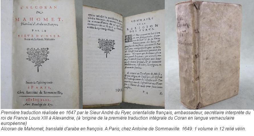 Premiere traduction du coran sieur andre du ryer